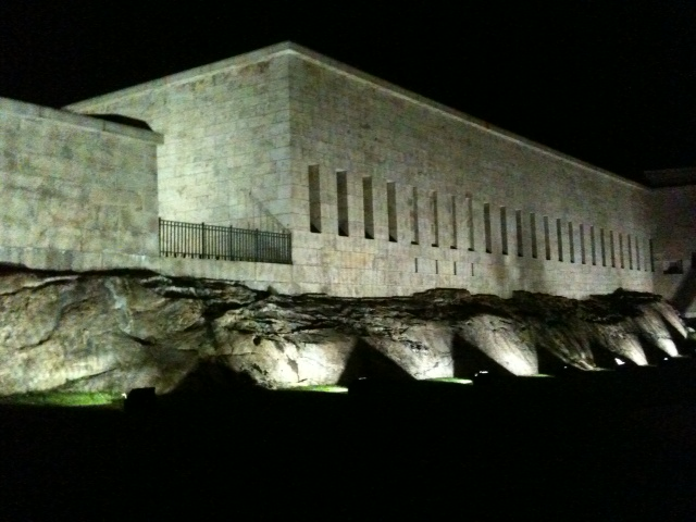Fort Trumbull, on the Thames River, at night
