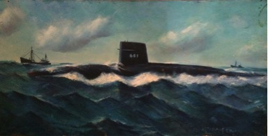 USS Robert E. Lee (SSBN-601) submarine painting by Ellery Thompson, oil on panel, New London Maritime Society collection.