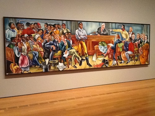 "One of six murals by Hale Woodruff in a series called Rising Up, depicting the trial that followed the uprising on the Amistad and commissioned in 1938 to commemorate the 1867 founding of Talladega College and ""celebrate its success as one of the nation's first all-black colleges."" The murals portray ""heroic efforts to resist slavery as well as moments in the history of the college, which opened in 1867 to serve the educational needs of a new population of freed slaves."""